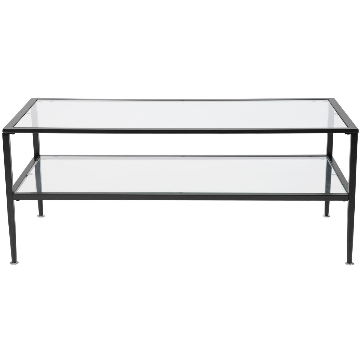 Black Glass Coffee Table Sale: Newport Collection Glass Coffee Table With Black Metal