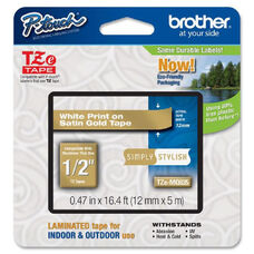 Brother TZe-MQG35 White on Lime Green Label Tape - 0.47