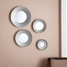 Silver Sphere Wall Mirror - Four Piece Set- Hammered Silver