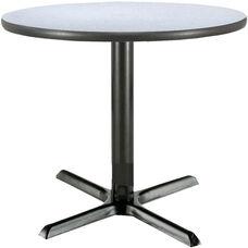 42'' Round Laminate Pedestal Table with Grey Nebula Top - Black X-Base