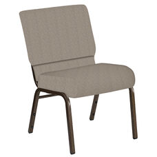 Embroidered 21''W Church Chair in Bonaire Taupe Fabric - Gold Vein Frame