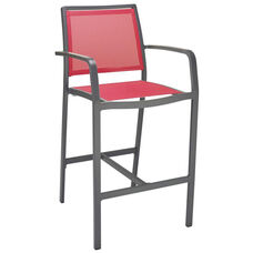 South Beach Collection Aluminum Outdoor Barstool with Arms and Textile Back - Wine
