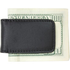 Magnetic Money Clip - Top Grain Nappa Leather with Suede Lining - Black