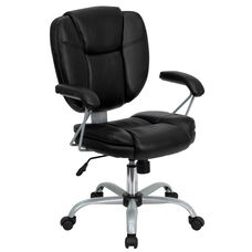 Mid-Back Black Leather Swivel Task Office Chair with Pillow Top Cushioning and Platinum Epoxy Base & Arms
