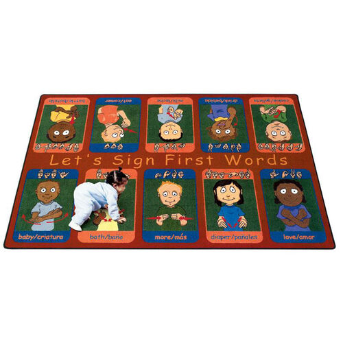 Our First Signs Rug is on sale now.