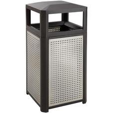 Evos™ 15 Gallon Steel Indoor or Outdoor Trash Receptacle - Black