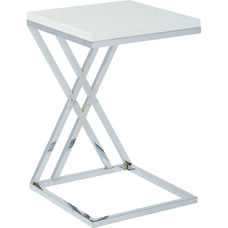 Ave Six Wall Street Multi-Purpose Side Table with Chrome Frame - White
