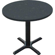 Laminate Top Round Cafe Table with 29''H Cast Iron X-Base - 24'' Diameter