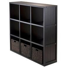 4-Pc Shelf Set - 3 x 3 Cube Wainscoting Panel Shelf with 3 Foldable Baskets
