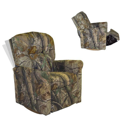 Kids Camouflage True Timber Contemporary Rocker Recliner with Tufted Back