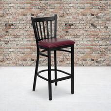 Black Vertical Back Metal Restaurant Barstool with Burgundy Vinyl Seat
