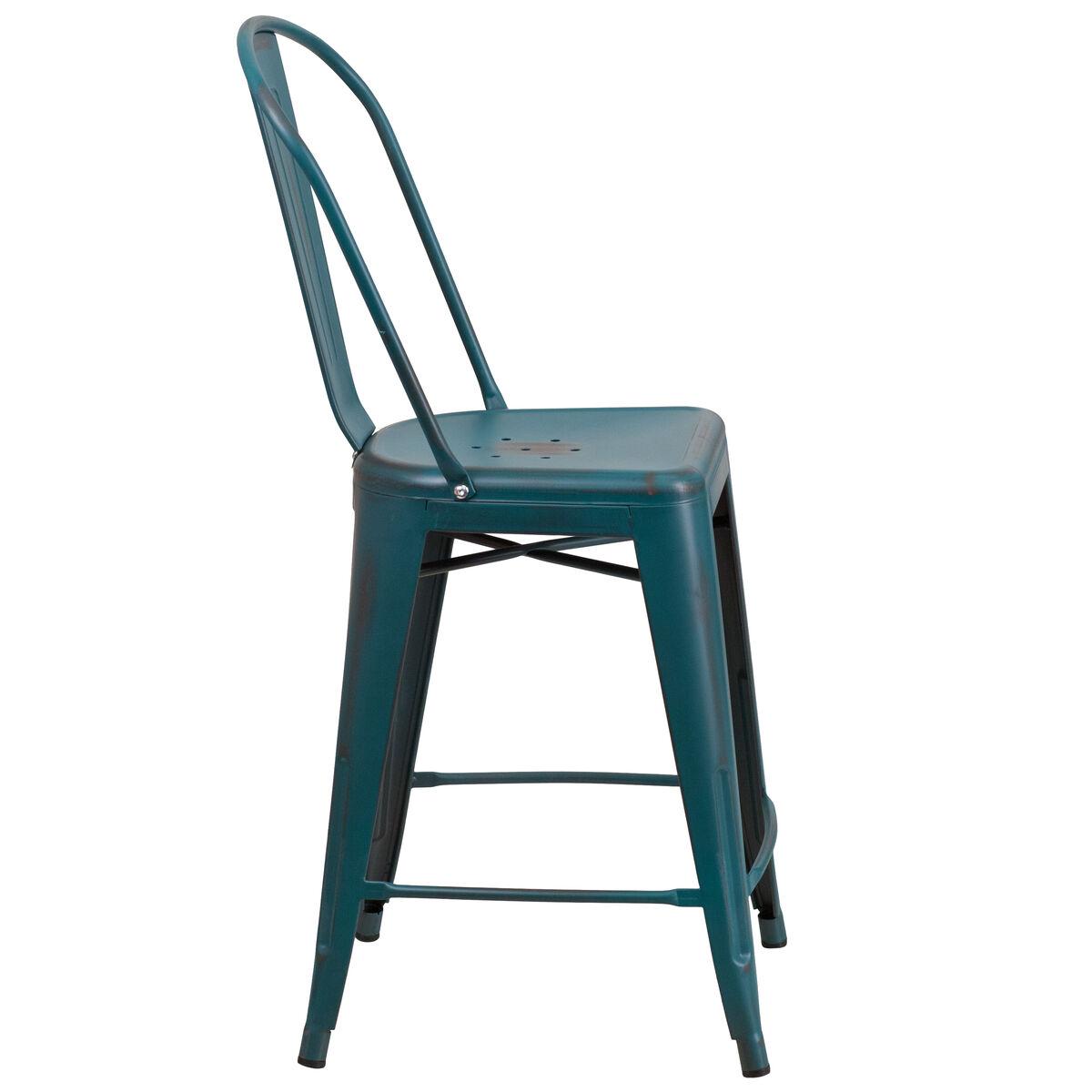 Distressed Blue Tl Metal Stool Et 3534 24 Kb Gg Bizchair Com