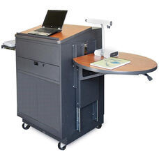 Vizion Sit Stand Mobile Teaching Center with Steel Doors and Lectern - Dark Neutral Finish and Cherry Laminate