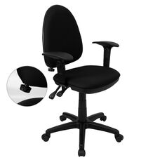 Mid-Back Black Fabric Multifunction Swivel Ergonomic Task Office Chair with Adjustable Lumbar Support & Arms