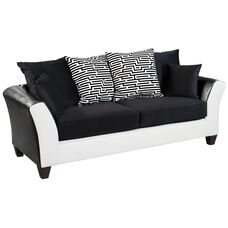Riverstone Implosion Black Velvet Sofa with Black & White Frame