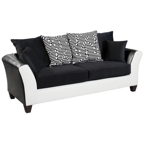 Our Riverstone Implosion Black Velvet Sofa with Black & White Frame is on sale now.