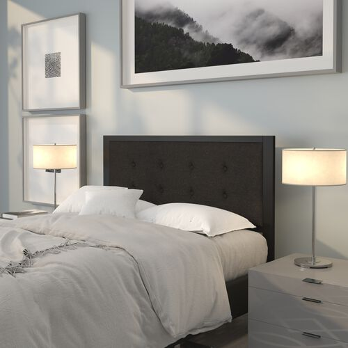 Bristol Metal Tufted Upholstered Full Size Headboard in Black Fabric