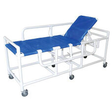 Royal Blue Medical Sling Gurney with Three Position Elevating Headrest and Casters - 28