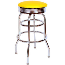 Retro Style Backless 30''H Swivel Bar Stool with Double Ring Chrome Frame and Padded Seat - Yellow Vinyl