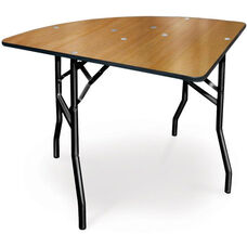 30'' Diameter 1/4 Round Plywood Folding Table with Locking Wishbone Style Legs