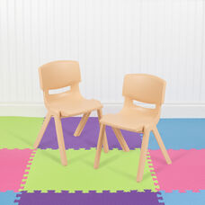 """2 Pack Natural Plastic Stackable School Chair with 12"""" Seat Height"""