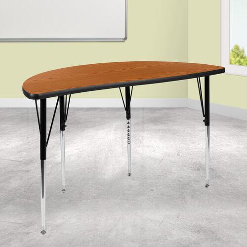 "47.5"" Half Circle Wave Collaborative Oak Thermal Laminate Activity Table - Standard Height Adjustable Legs"