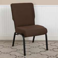 Advantage 20.5 in. Java Molded Foam Church Chair with Book Rack