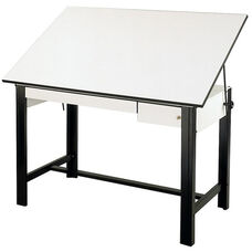 DesignMaster 4-Post Steel Drawing Table - White Top and Black Base