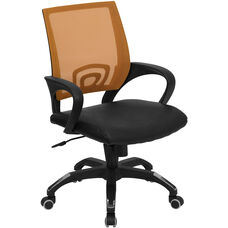 Mid-Back Orange Mesh Swivel Task Chair with Black Leather Seat and Arms