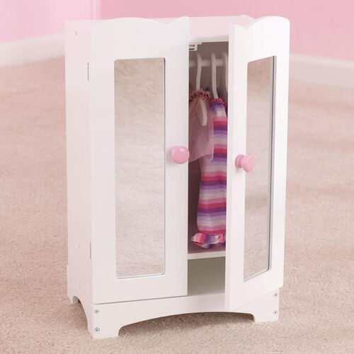 Our Lil Doll Wooden Armoire with Six Hangers for up to 19
