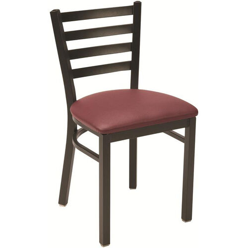 3300 Series Square Steel Frame Armless Cafe Chair with Contoured Ladder Back and Upholstered Seat