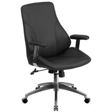 Mid-Back Black Leather Smooth Upholstered Executive Swivel Office Chair with Arms