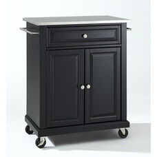 Stainless Steel Top Portable Kitchen Island with Casters - Black Finish
