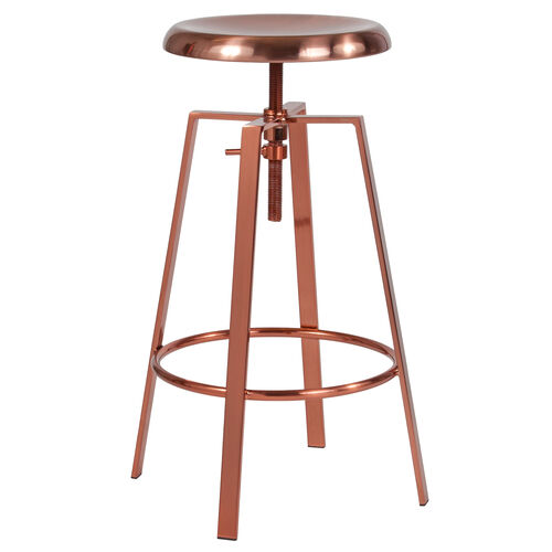 Our Toledo Industrial Style Barstool with Swivel Lift Adjustable Height Seat in Rose Gold Finish is on sale now.