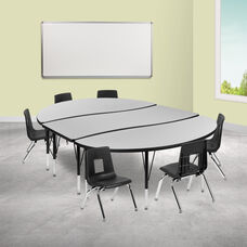"""86"""" Oval Wave Collaborative Laminate Activity Table Set with 12"""" Student Stack Chairs, Grey/Black"""