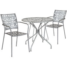 "Agostina Series 31.5"" Round Antique Silver Indoor-Outdoor Steel Patio Table with 2 Stack Chairs"