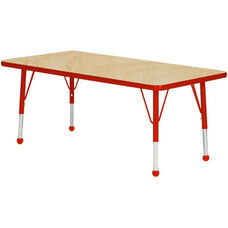 Adjustable Standard Height Laminate Top Rectangular Activity Table - Maple Top with Red Edge and Legs - 36