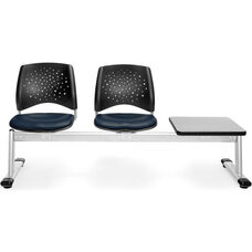 Stars 3-Beam Seating with 2 Navy Vinyl Seats and 1 Table - Gray Nebula Finish