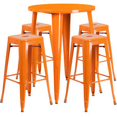 """Commercial Grade 30"""" Round Orange Metal Indoor-Outdoor Bar Table Set with 4 Square Seat Backless Stools"""