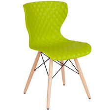 Bedford Contemporary Design Citrus Green Plastic Chair with Wooden Legs