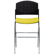Eddy Chrome Bar Stool with Upholstered Seat Pad