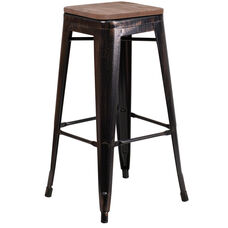 "30"" High Backless Black-Antique Gold Metal Barstool with Square Wood Seat"