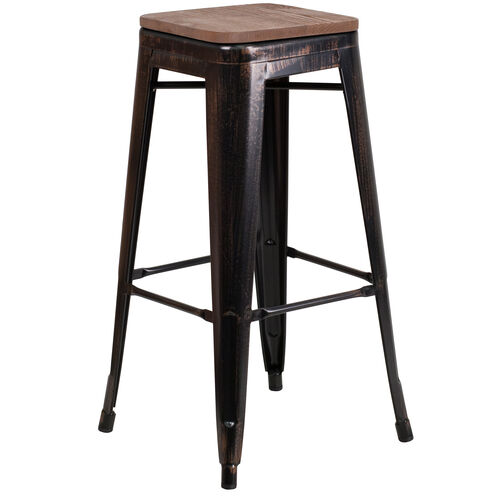 "Our 30"" High Backless Black-Antique Gold Metal Barstool with Square Wood Seat is on sale now."