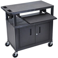 Molded Thermoplastic Resin 3 Shelf Presentation Cart with Pullout Tray - Black - 32