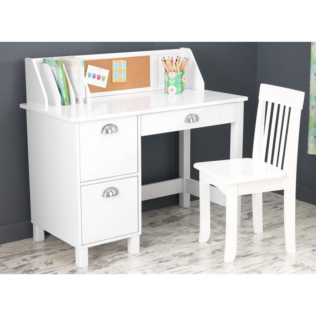 Kids Wooden Writing And Study Desk With Bulletin Board
