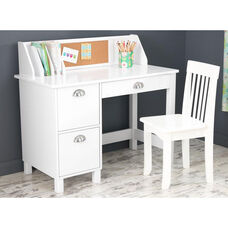 Kids Wooden Writing and Study Desk with Bulletin Board Hutch and Side Drawers - White