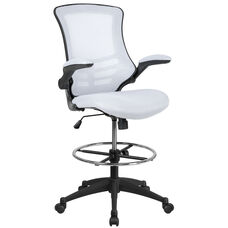 Mid-Back White Mesh Ergonomic Drafting Chair with Adjustable Foot Ring and Flip-Up Arms