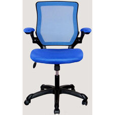 Techni Mobili Mesh Task Chair with Flip-Up Arms - Blue