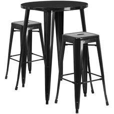 "Commercial Grade 30"" Round Black Metal Indoor-Outdoor Bar Table Set with 2 Square Seat Backless Stools"