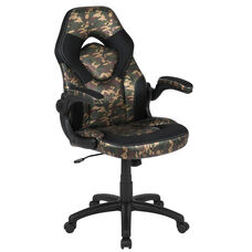 High Back Racing Style Ergonomic Gaming Chair with Flip-Up Arms, Camouflage/Black LeatherSoft